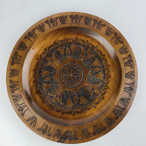 Vintage carved wooden plate